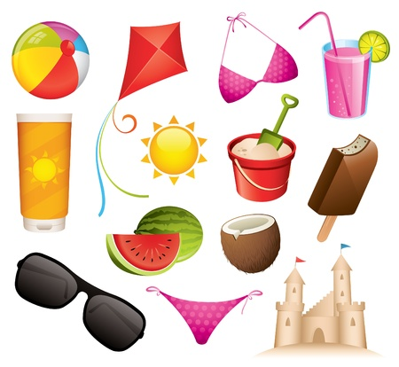 suntan lotion: Set of 13 summer and beach vector icons