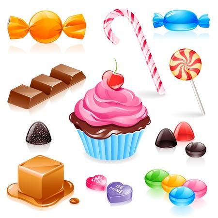 Set di elementi diversi tra cui caramelle caramello, cioccolato, lecca-lecca e gomma frutta.