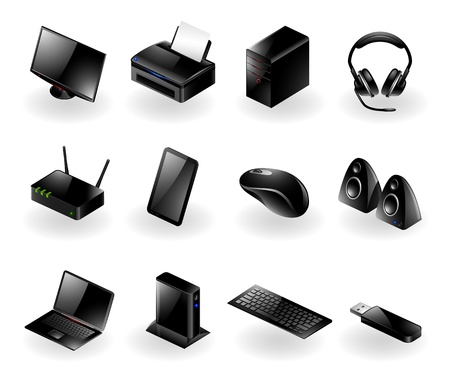 accessory: Vector set of various modern computer hardware icons Illustration