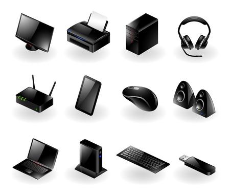 Vector set van diverse moderne computer hardware iconen