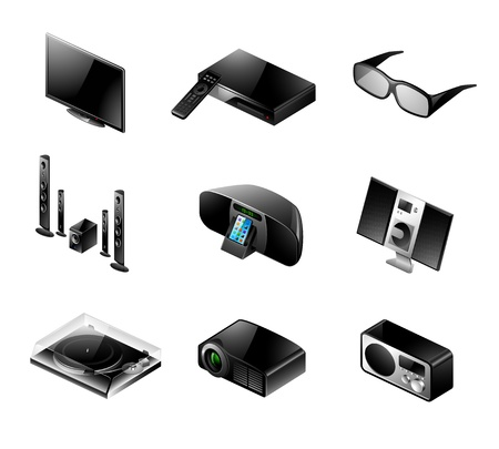 docking: Vector set of 9 modern black TV and audio icons