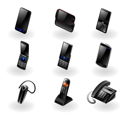 Vector set of 9 modern black phone communication icons
