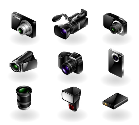 slr camera: Vector set of 9 modern black camera equipment icons