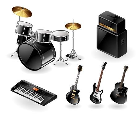 Icono de conjunto de los modernos instrumentos musicales eléctricos Ilustración de vector