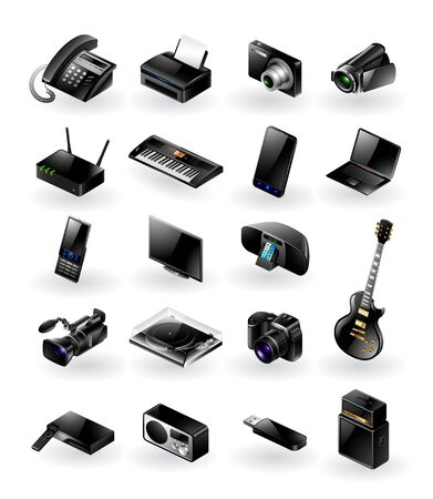 guitar amplifier: Mixed vector icon set - electronics in various categories Illustration
