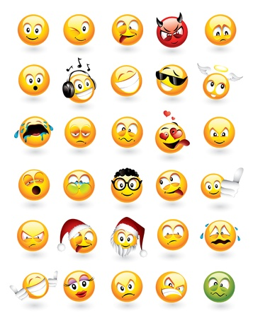 happy emoticon: Large vector set of 30 emoticons with various facial expressions