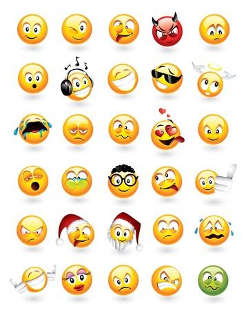 cara triste: Vector de gran juego de 30 emoticonos con diversas expresiones faciales