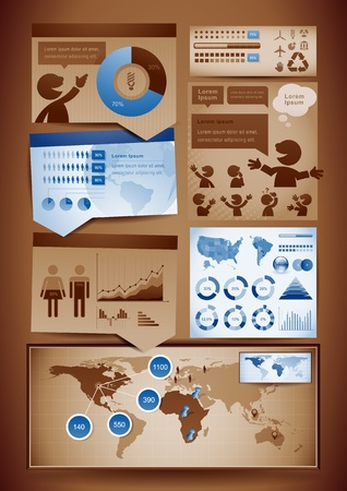 Vector set of brown and blue themed infographics design elements. Illustration