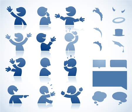 body language: Set of talking characters in various postures - perfect for infographics or comics