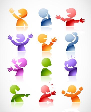 Set di colorati personaggi che parlano in varie posizioni - perfetto per infografica o fumetti