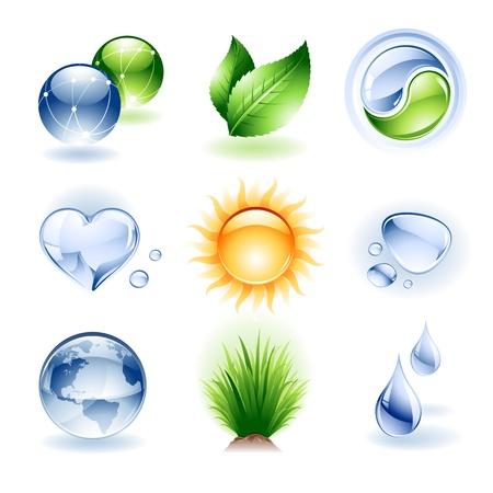 yin y yang: Vector conjunto de iconos de diversa índole o elementos de diseño