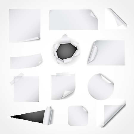 Paper design elements - curled and ripped paper, notes, stickers and corners Vector