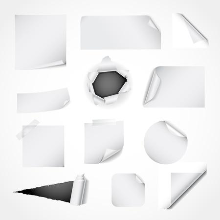 Papier design elementen - gekruld en scheurde het papier, nota's, stickers en hoeken Vector Illustratie