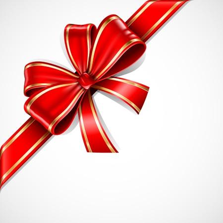 Rode en gouden geschenk boeg en lint Stock Illustratie