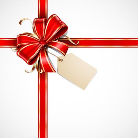 Rouge et l'arc cadeau en or avec une étiquette vierge et rubans Vecteurs