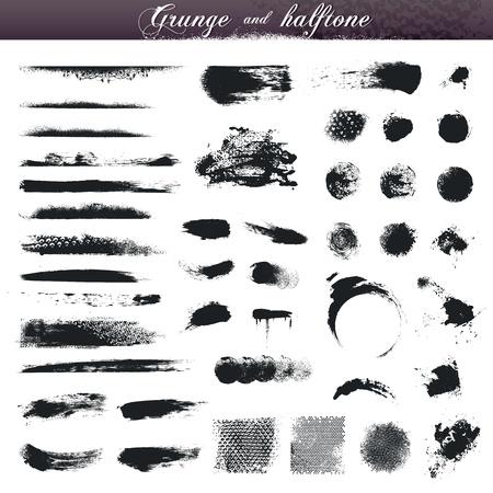 Conjunto de grunge y los elementos de los diversos medios tonos de diseño
