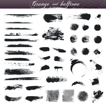 paint brush: Set of various grunge and halftone design elements