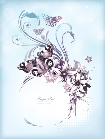 Vintage and floral spring or summer background Vector