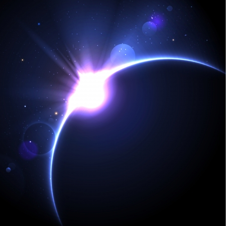 background with stars and lens flare Vector