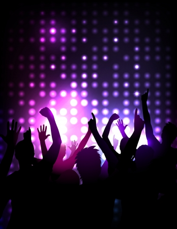 nightclub crowd:  background - cheering crowd at a concert Illustration