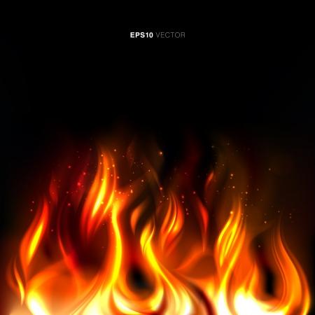 vividly: Illustration of vividly burning fire on a black background