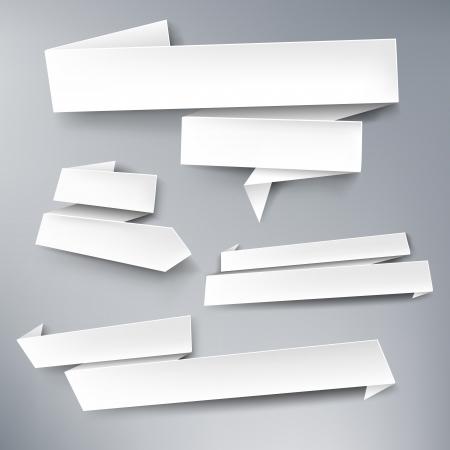 banner orizzontali: Bianco, vettore, bandiere di carta per il vostro testo