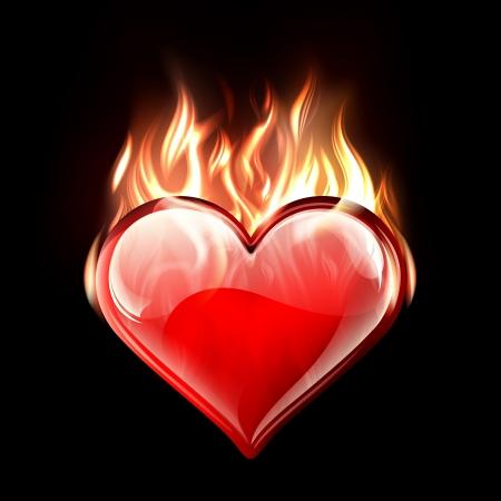 burning heart: Conceptual vector illustration of a burning heart