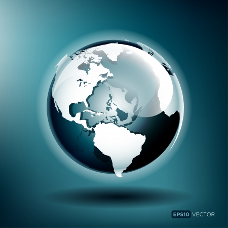 globus: Vector illustration of a glossy globe on a blue background