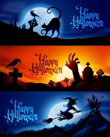 Tres vectores de Halloween de miedo banners - Sustituya texto por su propio