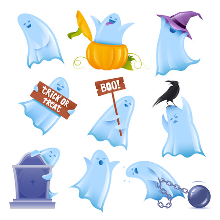 cute ghost: Set of 9 happy halloween ghosts in various situations Illustration