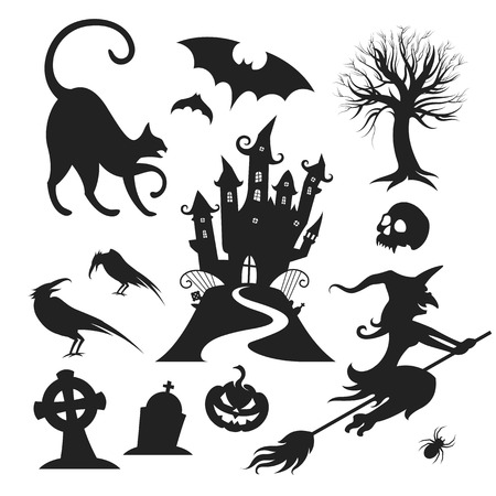 castle silhouette: Set of various vector halloween design elements