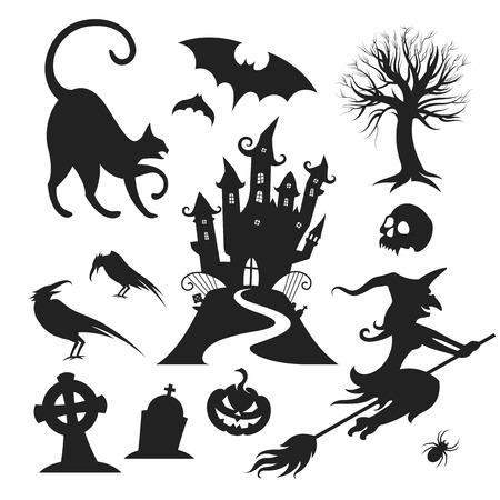 cat silhouette: Set of various vector halloween design elements