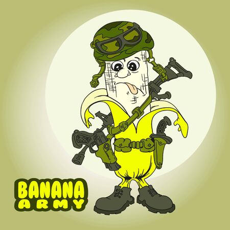 Banana Military soldier  mascot template. Soldier special force vector icon. Warrior mascot. Banana Army mascot Ilustracja