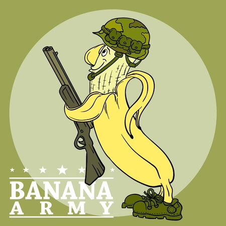 Banana Military soldier mascot template. Soldier special force vector icon. Warrior mascot. Banana Army respect mascot
