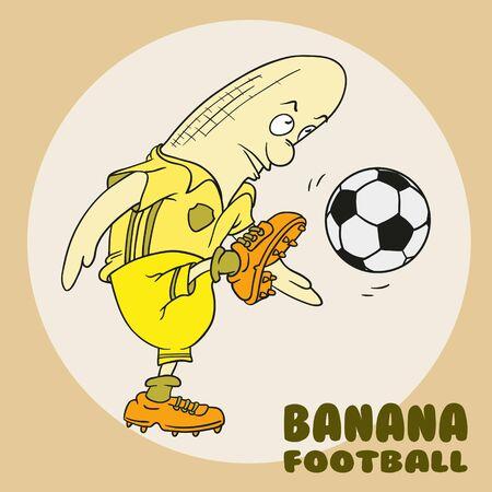 banana playing football mascot vector cartoon illustration. Foto de archivo - 142864620