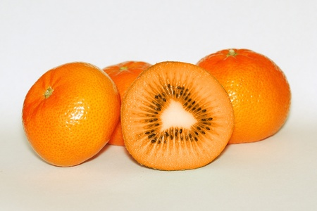 Photo montage of a orange kiwi and tangerine photo