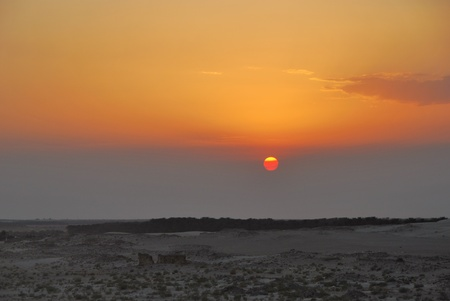beautiful sunset in the desert in egypt photo