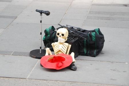 funny street musicians hat microphone equipment money photo