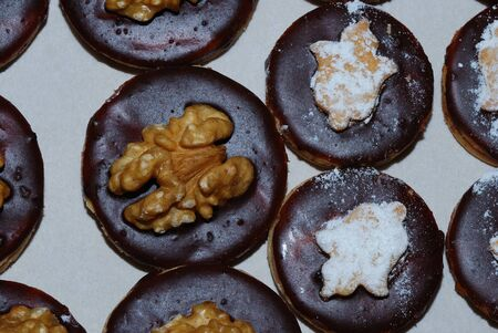 biscuit in the series with black chocolate and nuts christmas photo