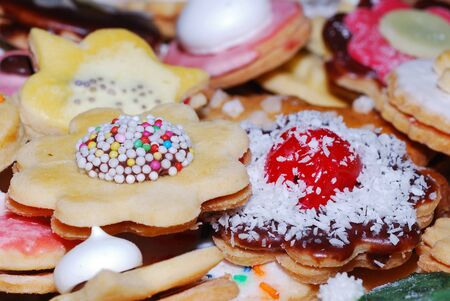 many cute christmas cookies in large view stock photo 12843189