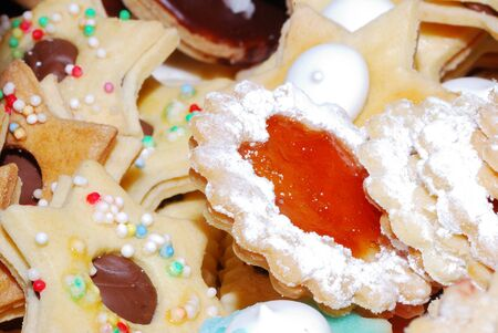 many colorful sweet yummy biscuit to christmas photo