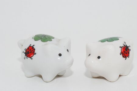 two white porcelain pig happy new year for luck photo