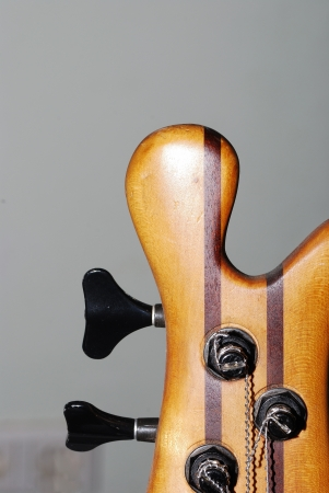 detail bass guitar for musician from different types of wood photo