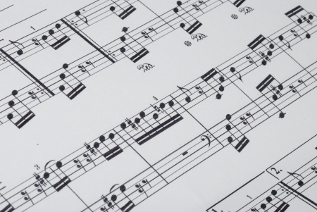 many music notes on a sheet for the concert and orchestra beginning photo