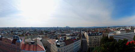 castle district: promising the city of vienna panorama 2 roofs from above