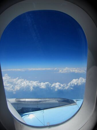 beautiful view on clouds and horizon from the airplane