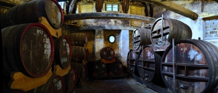 chataeu du breuil in france wine cellar with many barrels Éditoriale