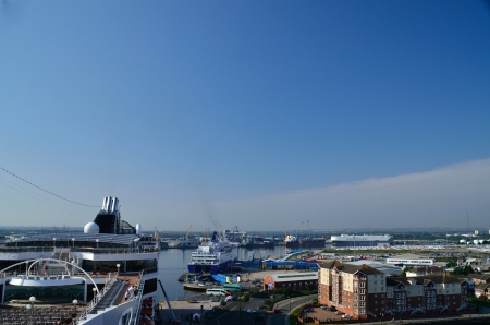 harbor with cruise ship and other ships in newcastle Editorial