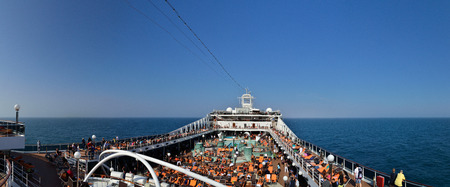upper full deck on a cruise ship at sea panorama