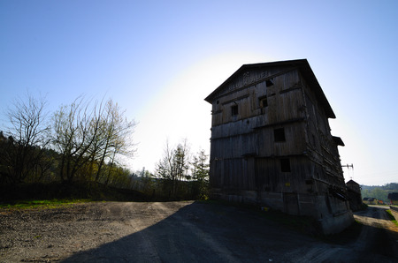old wooden building of a mine photo